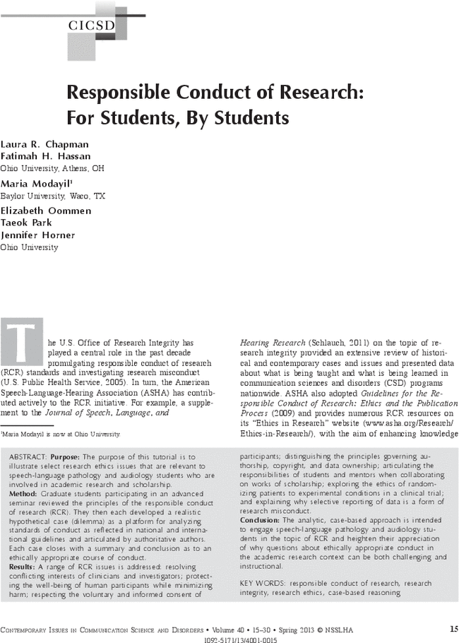 Responsible Conduct of Research: For Students, By Students