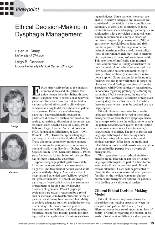 Ethical Decision-Making in Dysphagia Management | American Journal
