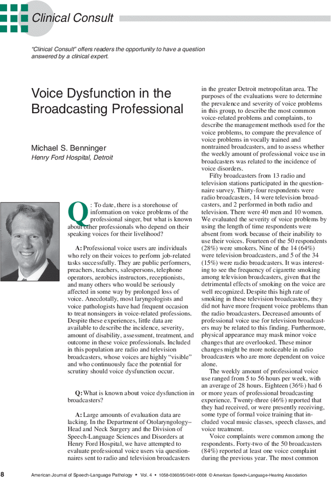 Voice Dysfunction in the Broadcasting Professional