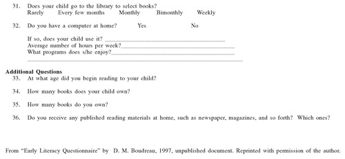 Use of a Parent Questionnaire in Emergent and Early Literacy